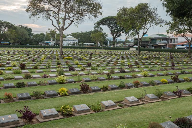 Kanchanaburi war cemetery, where thousands of Allied POWs who died on the notorious Thailand to Burma death railway are buried. stock photos