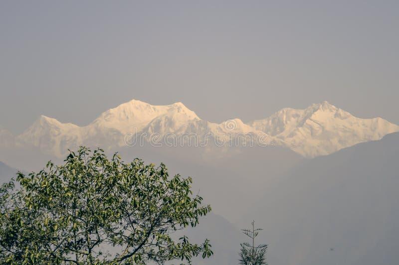 Kanchanjunghawaaier van dzongripas Sikkim dichtbij Pelling-Helihaven stock foto's