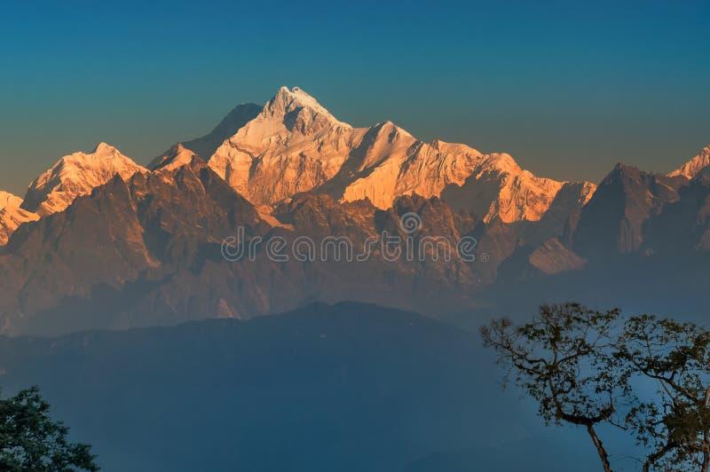 Kanchenjunga mountain range , Himalayan mountain in backdrop, Sikkim. Beautiful view of Kanchenjunga mountain range with first daylight on it, at the background stock photography