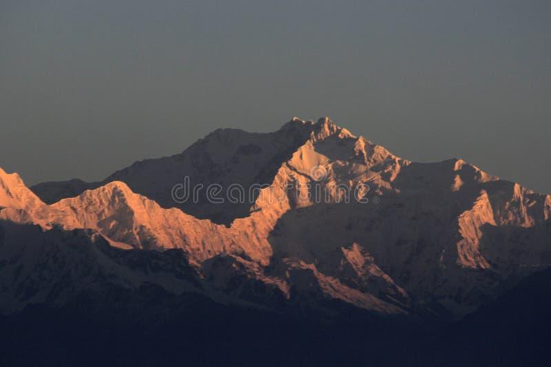 Kanchenjunga piek het zonsopgang royalty-vrije stock afbeelding