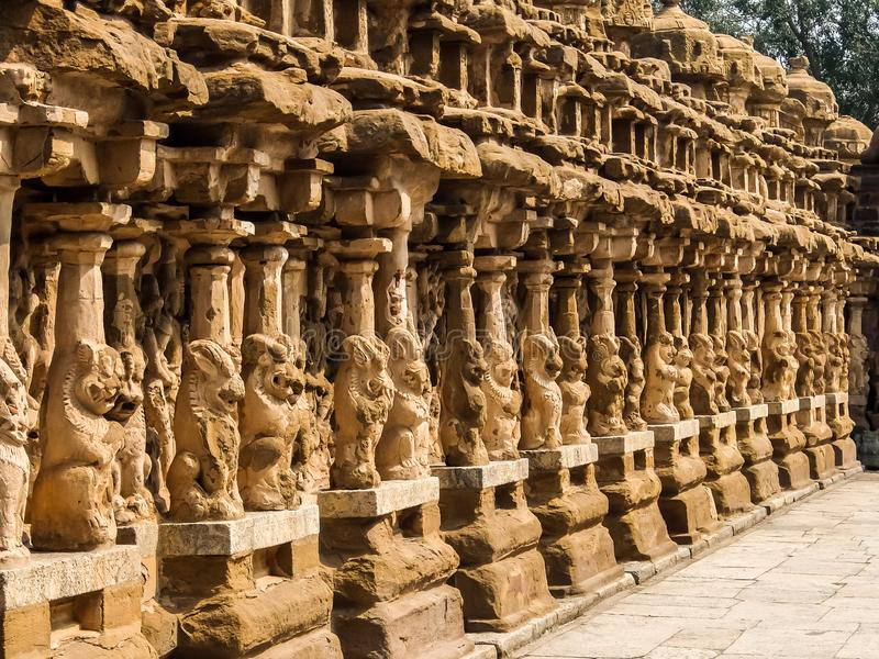 View of Kailasanathar Temple in Kanchipuram, India. Kanchipuram, India - Circa January, 2018. View of Kailasanathar Temple in Kanchipuram, India royalty free stock images