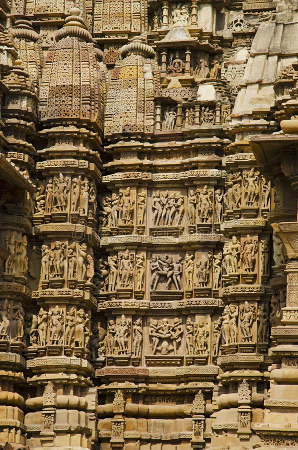 KANDARIYA MAHADEV TEMPLE, South Wall - Mandapa and Sanctuary - Erotic Sculptures, Western Group, Khajuraho, Madhya Pradesh, UNESCO stock images
