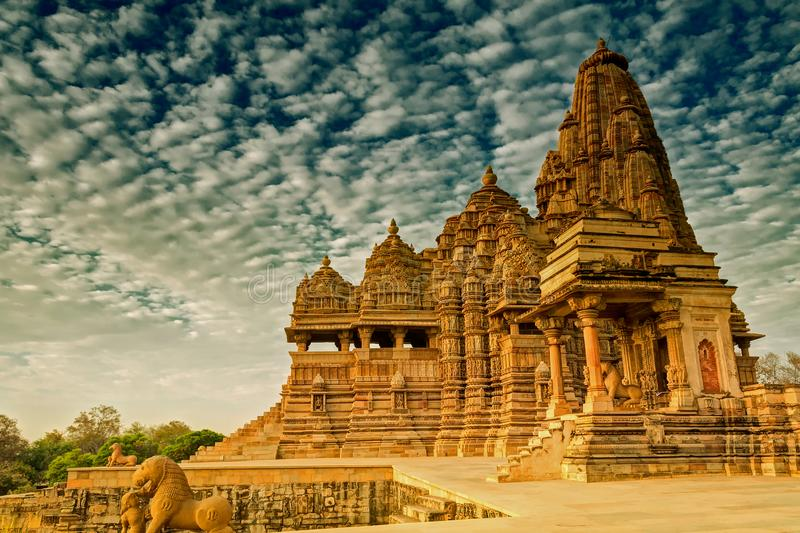 Kandariya Mahadeva Temple, Khajuraho, India-UNESCO world heritage site royalty free stock photo