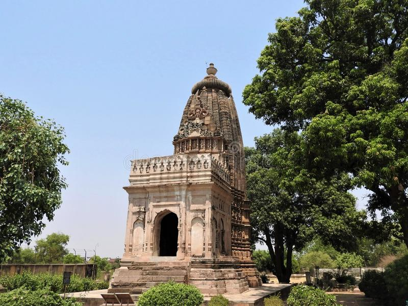 Kandariya Mahadeva Temple, Western Group of Temples, Khajuraho, Madhya Pradesh, India het is een UNESCO-werelderfgoedlocatie stock afbeelding