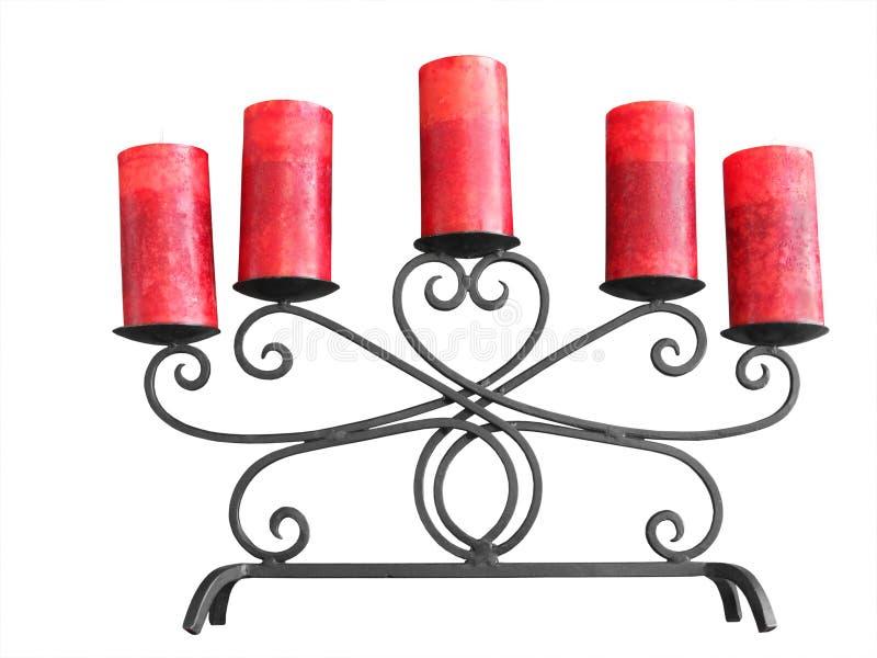 Kandelaar met rode kaarsen stock foto's