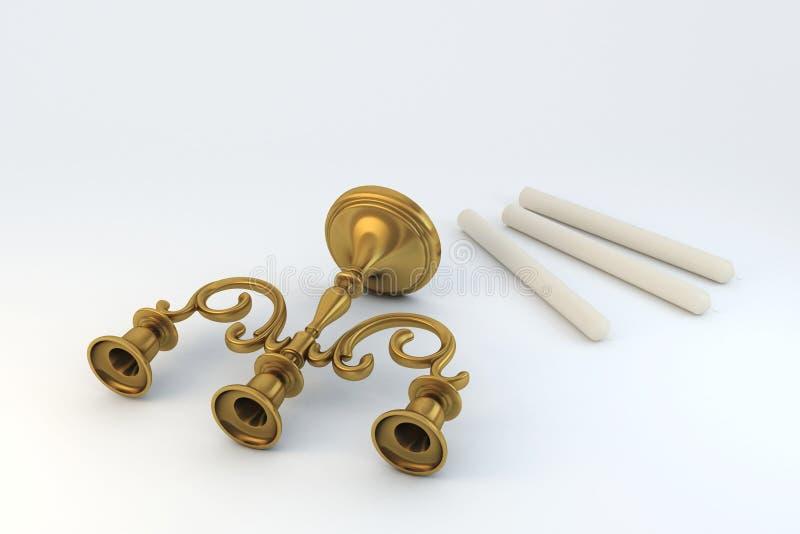 Kandelaber-dreifache Bronze stockfotografie