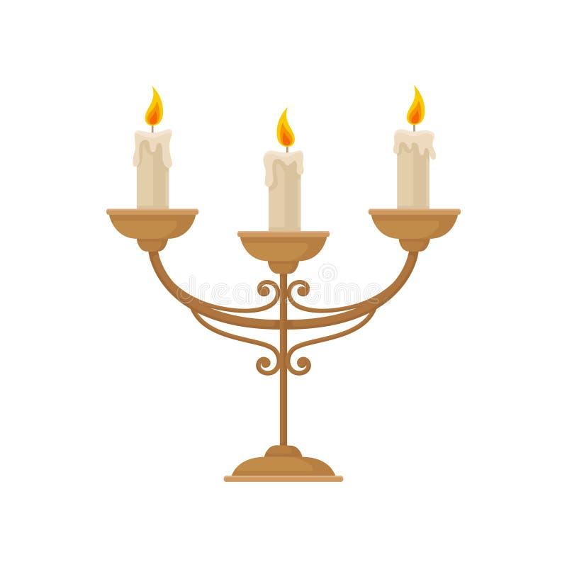 Kandelaber med tre brinnande stearinljus, illustration för tappningljusstakevektor på en vit bakgrund vektor illustrationer