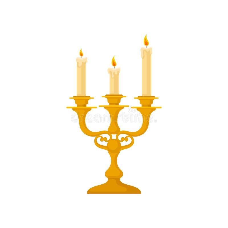 Kandelaber med tre stearinljus, för ljusstakevektor för tappning guld- illustration på en vit bakgrund vektor illustrationer