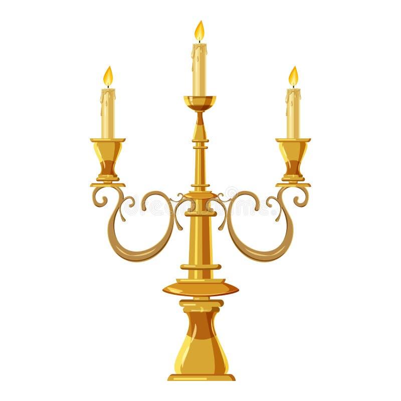 Kandelaber med tre stearinljus symbol, tecknad filmstil royaltyfri illustrationer