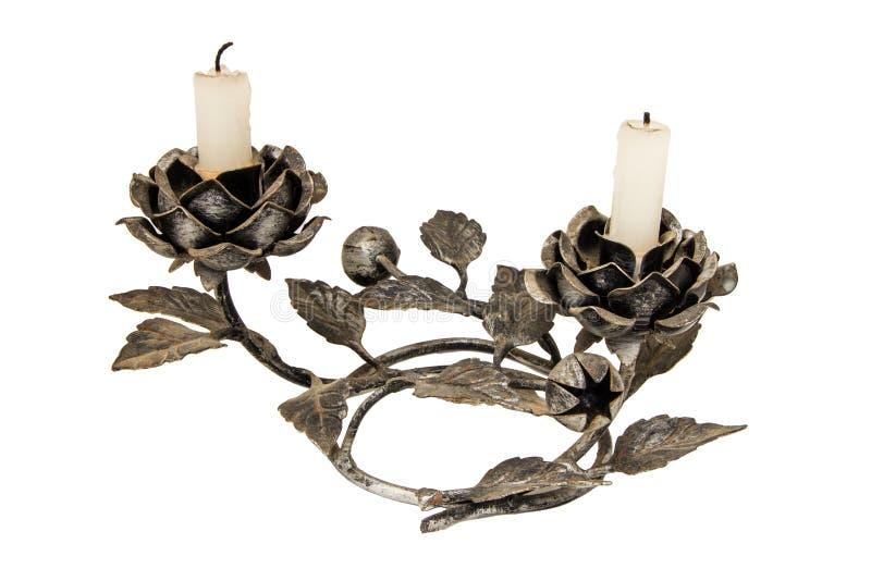 Kandelaber mit den Kerzen lokalisiert auf Weiß stockbild