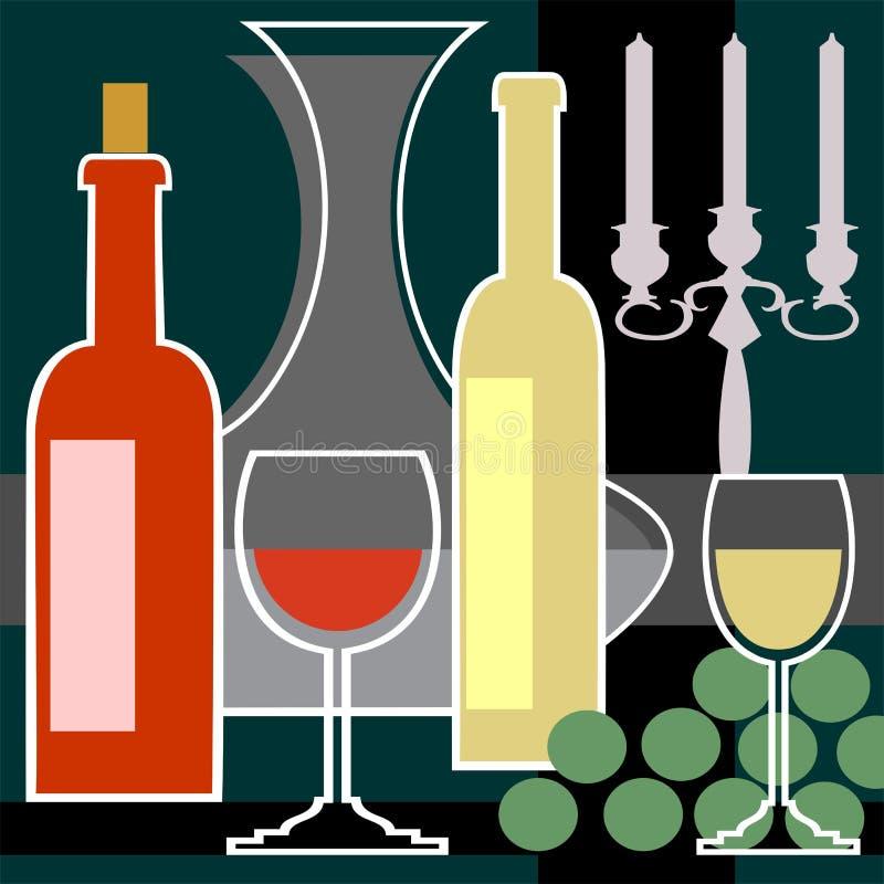 Kandelabers met een rode en witte wijn royalty-vrije illustratie