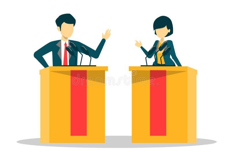 Kandidaat voor voorzitter op debat Wijfje en mannetje royalty-vrije illustratie
