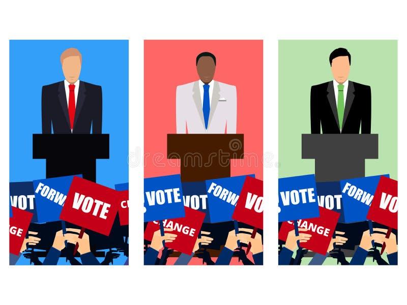 Kandidat der Partei beschäftigt gewesen mit Debatte Präsidentschaftsanwärter Wahlkampf Rede vom Podium lizenzfreie abbildung