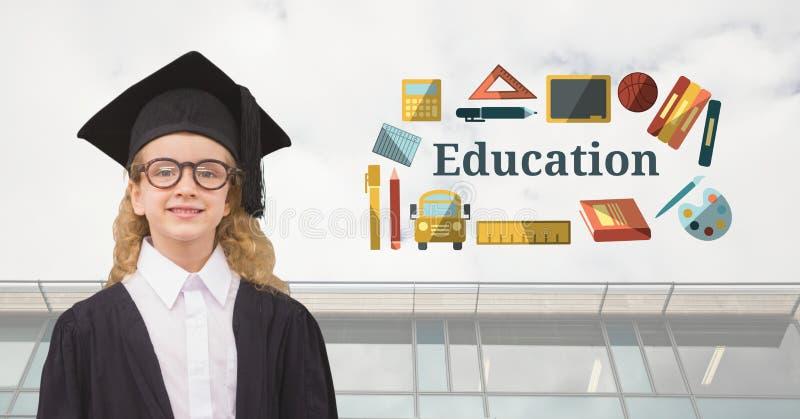 Kandidat för ung flickastudent med utbildningstext med teckningsdiagram royaltyfri illustrationer