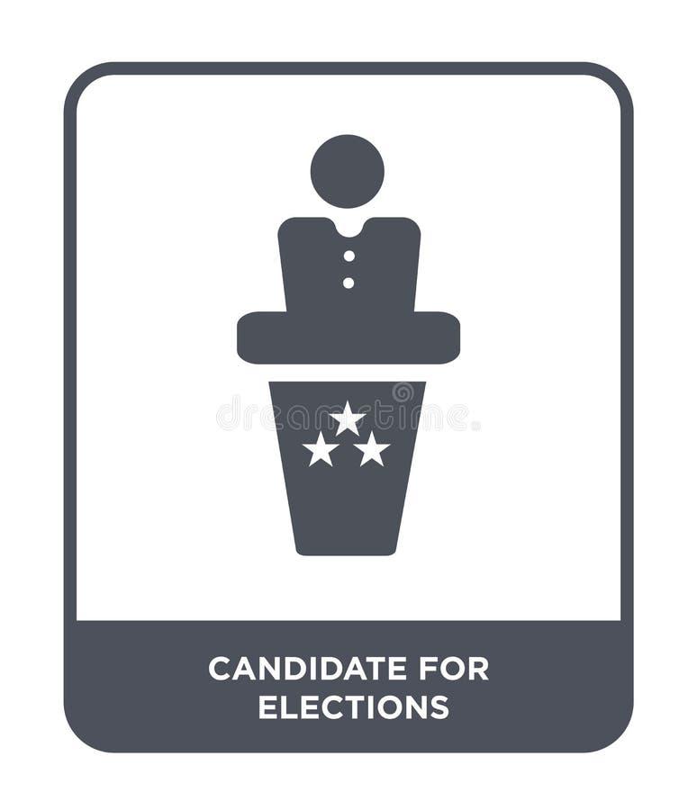 Kandidat für Wahlikone in der modischen Entwurfsart Kandidat für die Wahlikone lokalisiert auf weißem Hintergrund Kandidat für stock abbildung