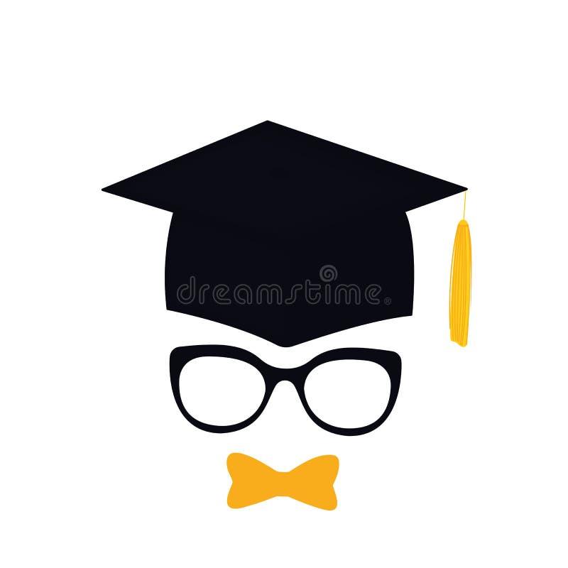 Kandidat i avläggande av examenhatt med tofsen, glasögon och flugan mortarboard vektor illustrationer