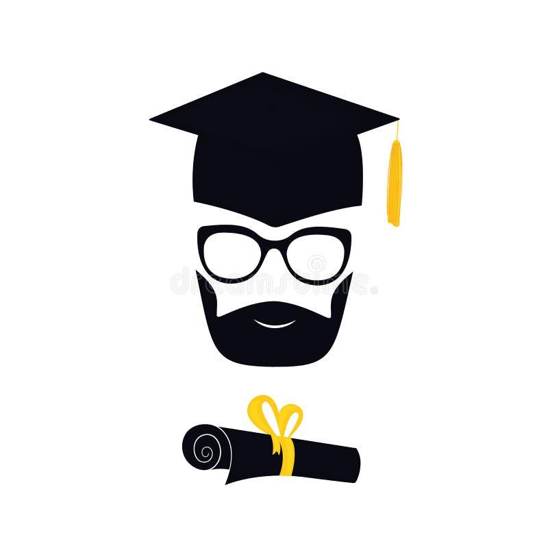 Kandidat med björnen i avläggande av examenhatt med tofsen, glasögon med diplomet som binds med ett band mortarboard vektor illustrationer