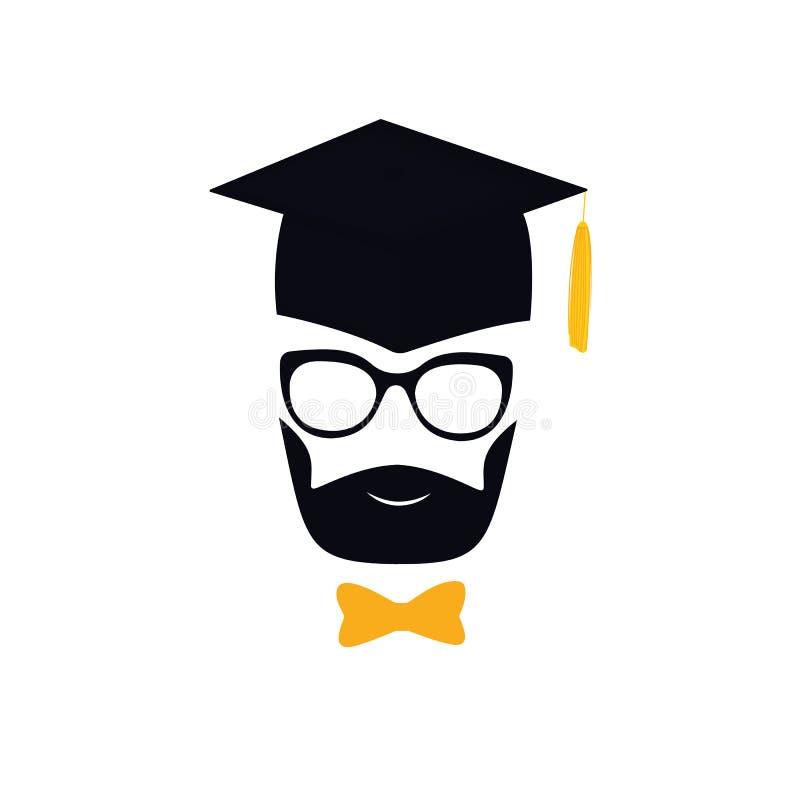 Kandidat med björnen i avläggande av examenhatt med tofsen, glasögon och flugan mortarboard stock illustrationer