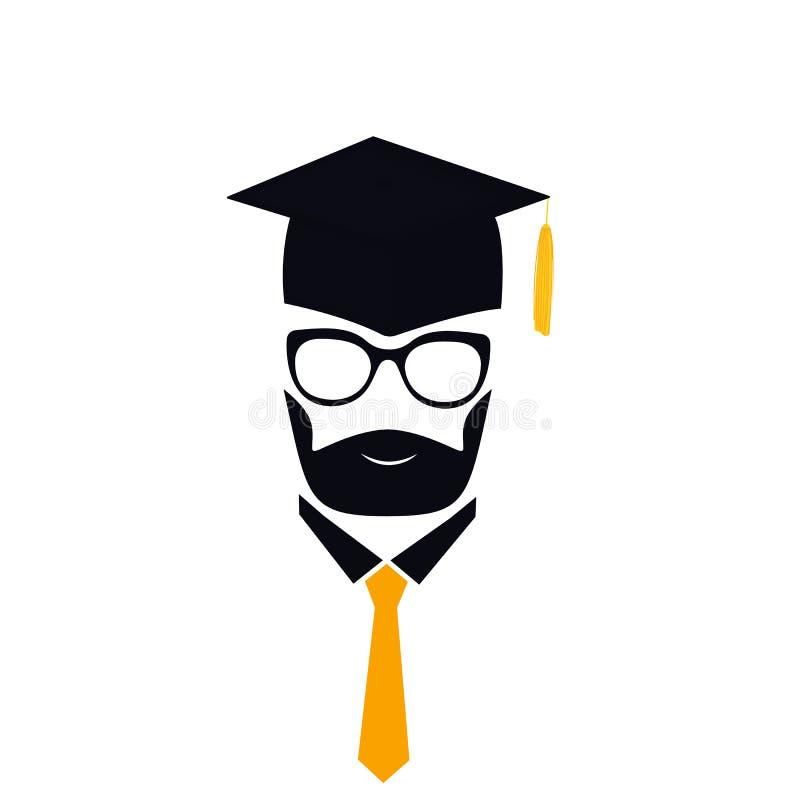 Kandidat med björnen i avläggande av examenhatt med tofsen, glasögon och slipsen mortarboard stock illustrationer