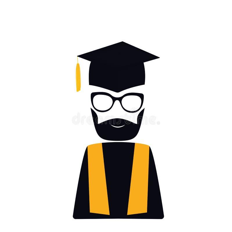Kandidat med björnen i avläggande av examenhatt med tofsen, kappa, glasögon mortarboard stock illustrationer