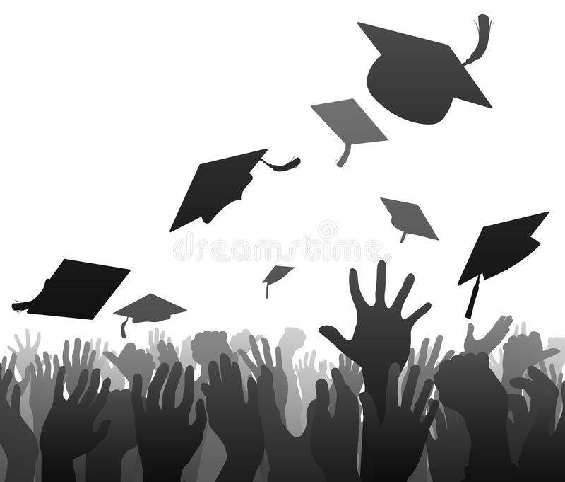 Kandidatavläggande av examenfolkmassa stock illustrationer