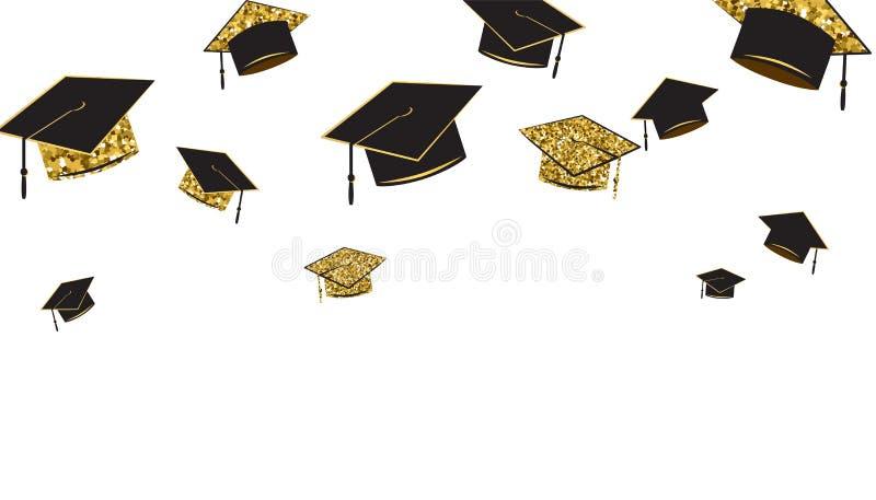 Kandidaten caps baner, svart och guld- färg på en vit bakgrund Avläggande av examenhatt som kastas upp royaltyfri illustrationer