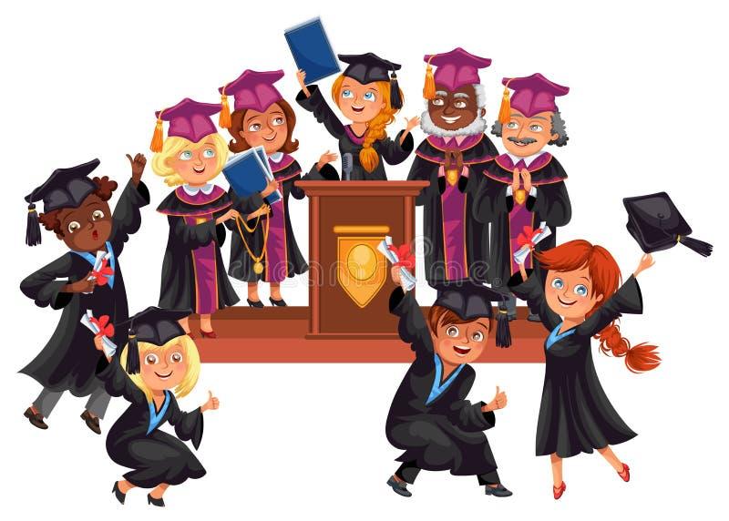 Kandidater firar avslutning av utbildning Lyckliga pojkar och flickor i kappor och lock med lärare på berömceremoni royaltyfri illustrationer