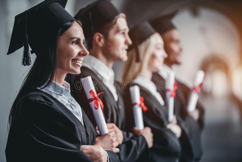 Kandidater i universitet royaltyfri bild