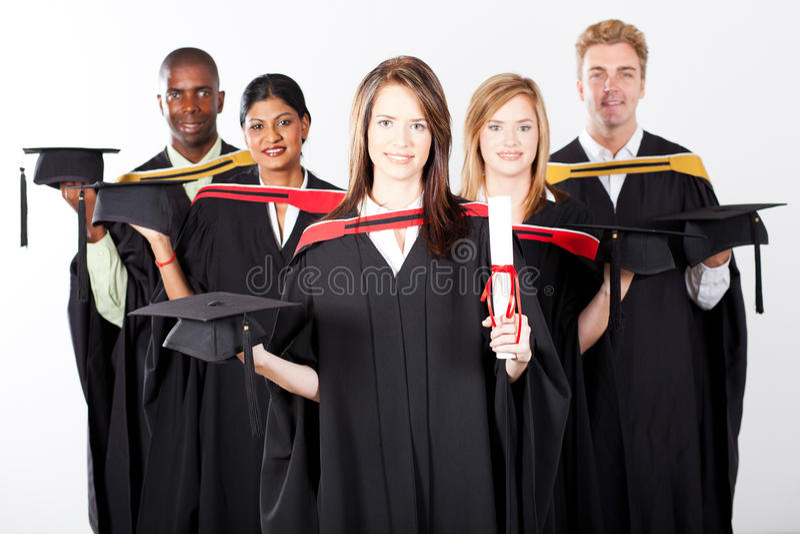 Kandidater på avläggande av examen arkivfoto