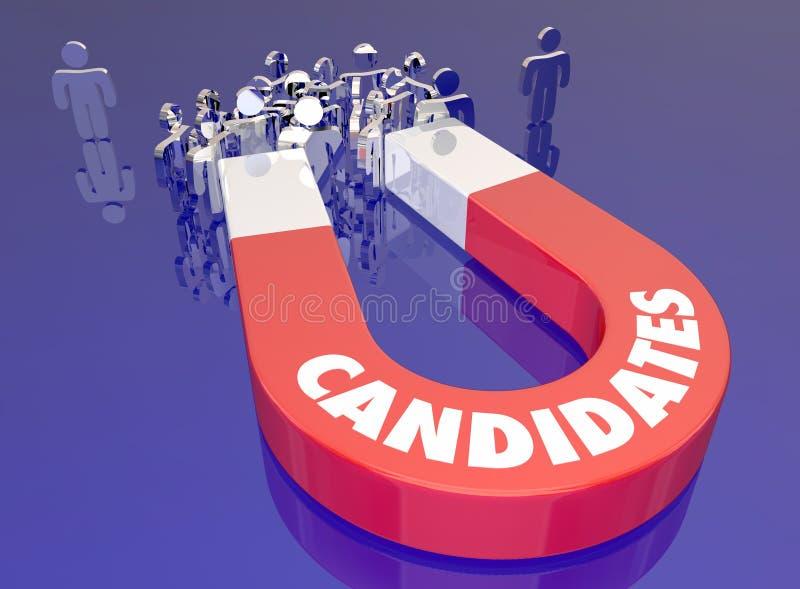 Kandidater tilldrar Job Applicants Magnet People Word vektor illustrationer
