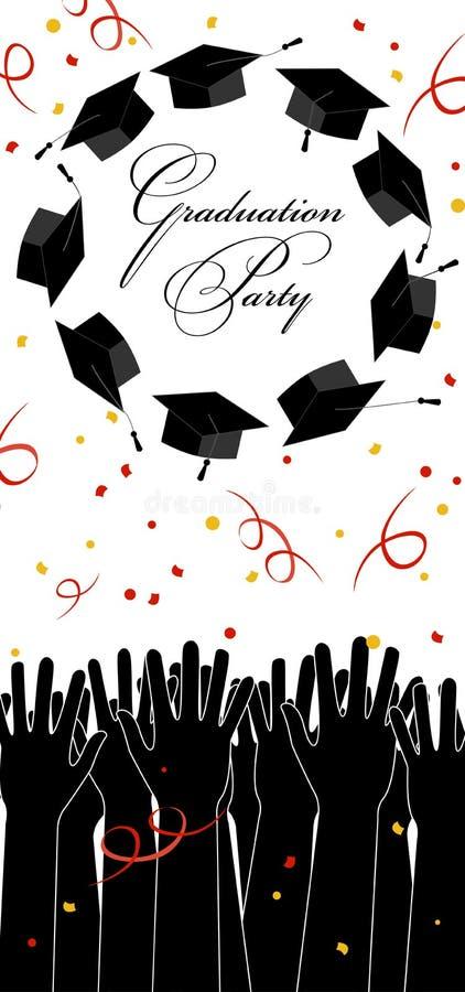 Kandidathänder som upp kastar avläggande av examenhattar Avläggande av examenkort med stället för text royaltyfri illustrationer