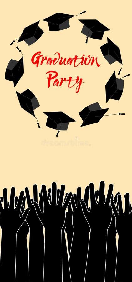 Kandidathänder som upp kastar avläggande av examenhattar Avläggande av examenkort med stället för text stock illustrationer