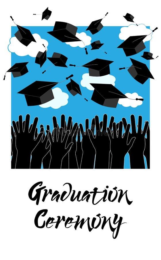 Kandidathänder som upp kastar avläggande av examenhattar Bakgrund för avläggande av examenceremoni stock illustrationer
