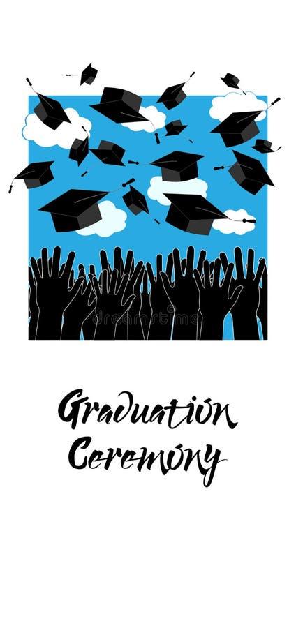 Kandidathänder som upp kastar avläggande av examenhattar luft caps avläggande av examen stock illustrationer
