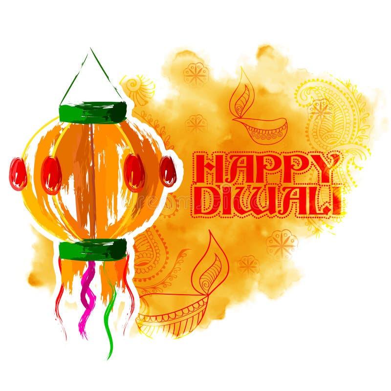 Kandil смертной казни через повешение на счастливой предпосылке праздника Diwali для светлого фестиваля Индии иллюстрация штока