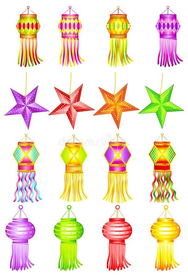 Kandil variopinto per la decorazione di Diwali royalty illustrazione gratis