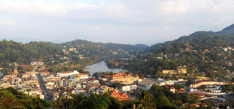 Kandy. Panorama of Kandy - ancient capital of Sri Lanka stock photo