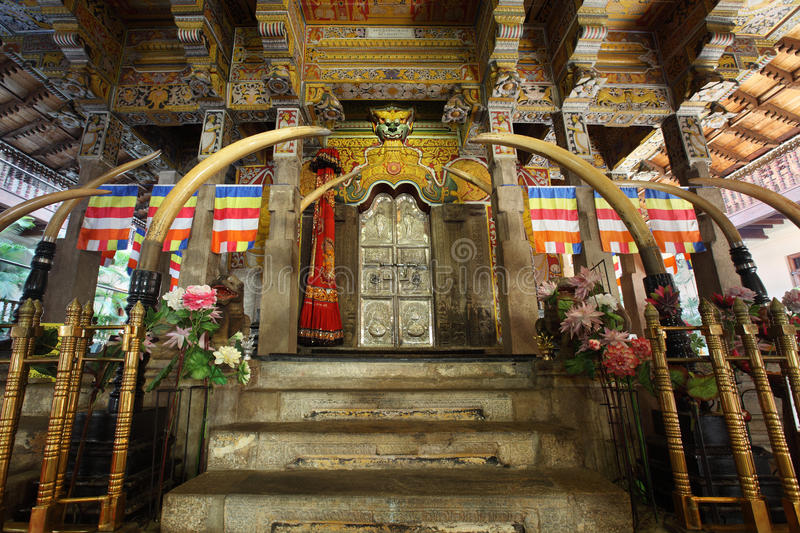 Kandy. Interior of Temple of the tooth. City of Kandy, Sri Lanka royalty free stock image