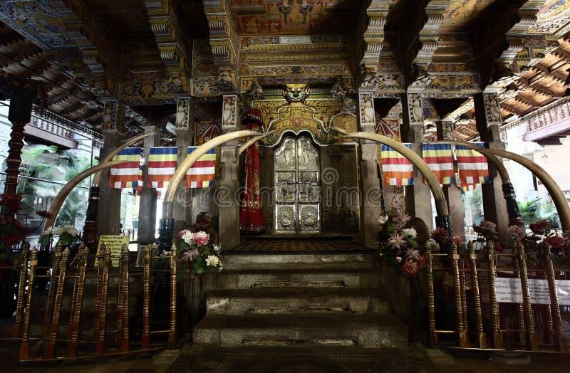 Kandy. Interior of Temple of the tooth. City of Kandy, Sri Lanka royalty free stock photos