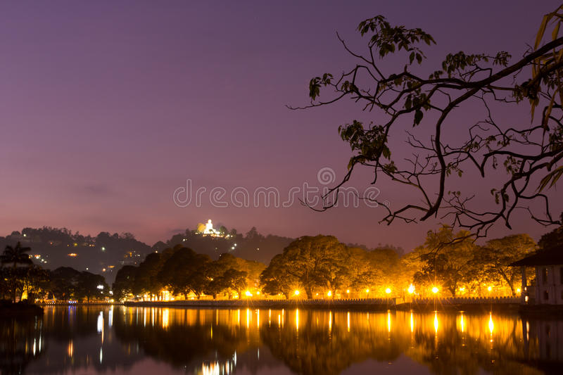Kandy lake. Lakeside at night in kandy, beside Temple of the Tooth royalty free stock photos