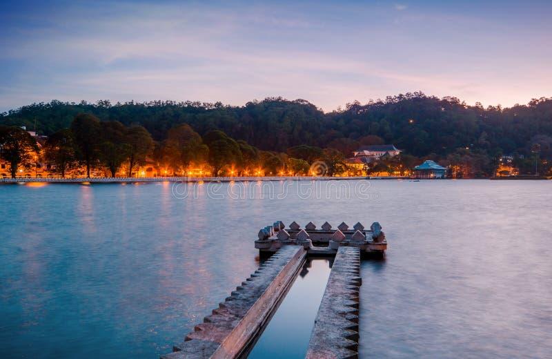 Kandy Lake at sunrise. Kandy, Central Province, Sri Lanka, Asia royalty free stock photos