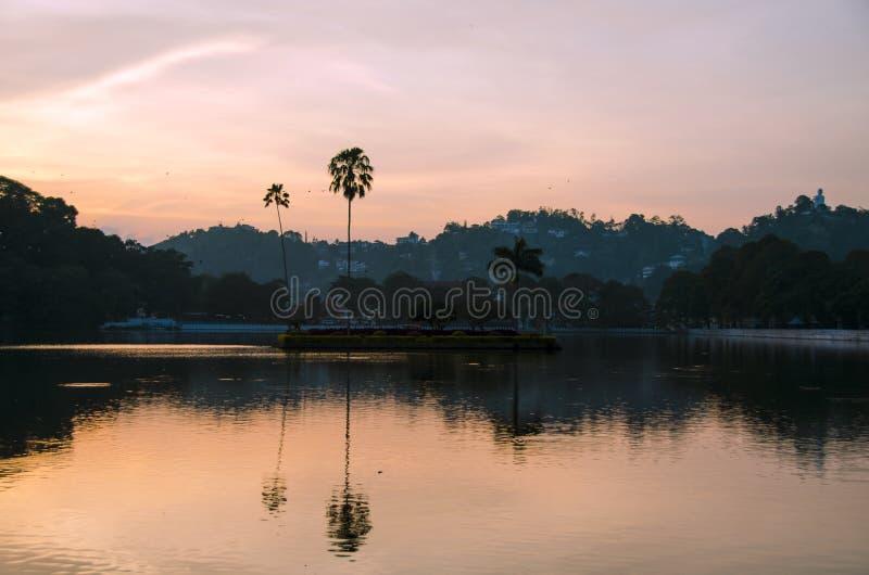 Kandy lake. At sunset, sri lanka royalty free stock photo