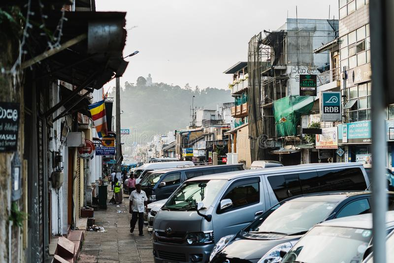 Kandy, Sri Lanka - January 12, 2019 - Busy street with a lot of people and cars, tuk-tuk taxis. he second largest city royalty free stock images