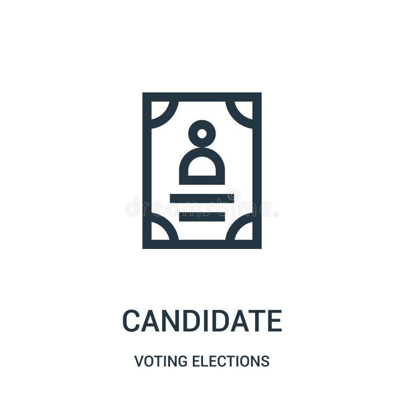 kandydat ikony wektor od głosować wybory inkasowych Cienka kreskowa kandydata konturu ikony wektoru ilustracja ilustracja wektor