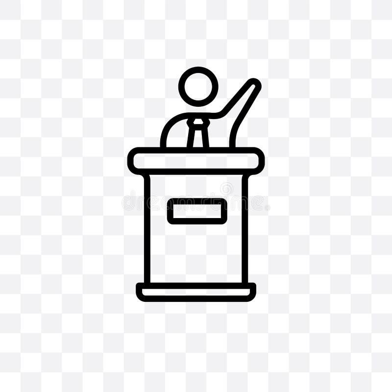 Kandydat polityczny mowy wektorowa liniowa ikona odizolowywająca na przejrzystym tle, kandydat polityczny mowy przezroczystości p ilustracji