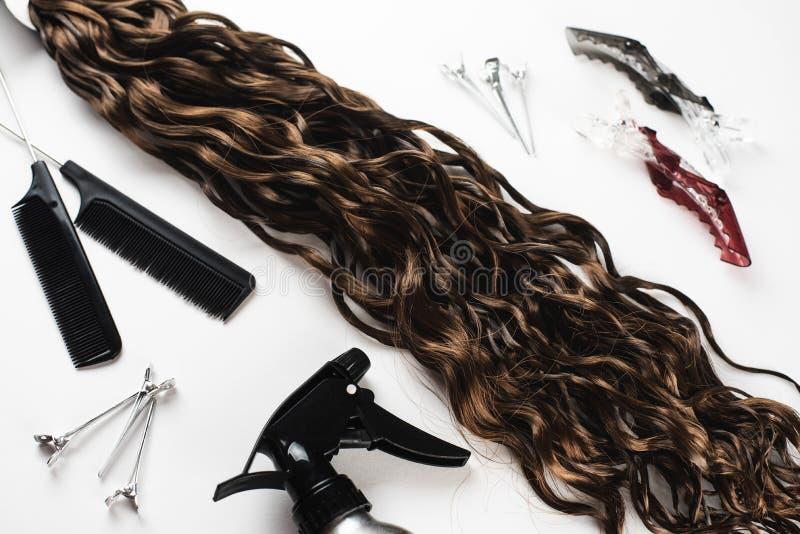 Kanekalon 头发色的人为子线  打褶的辫子的材料 库存照片