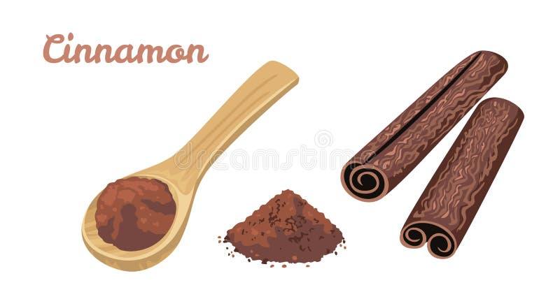 Kanelbrun uppsättning Kryddig krydda i träsked-, pulver- och kanelpinnar stock illustrationer