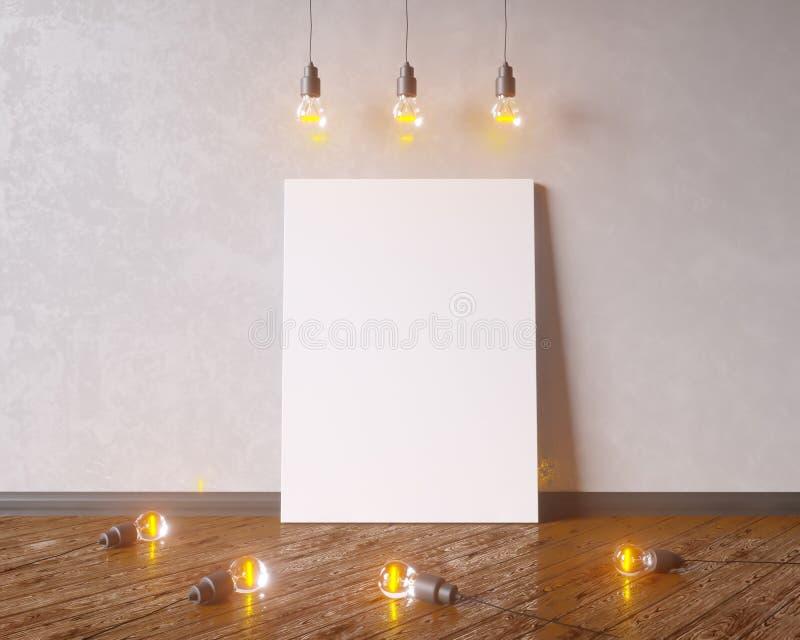 Kanfas som hänger under ljusa kulor för dekorativ tappning illustration 3d royaltyfri foto