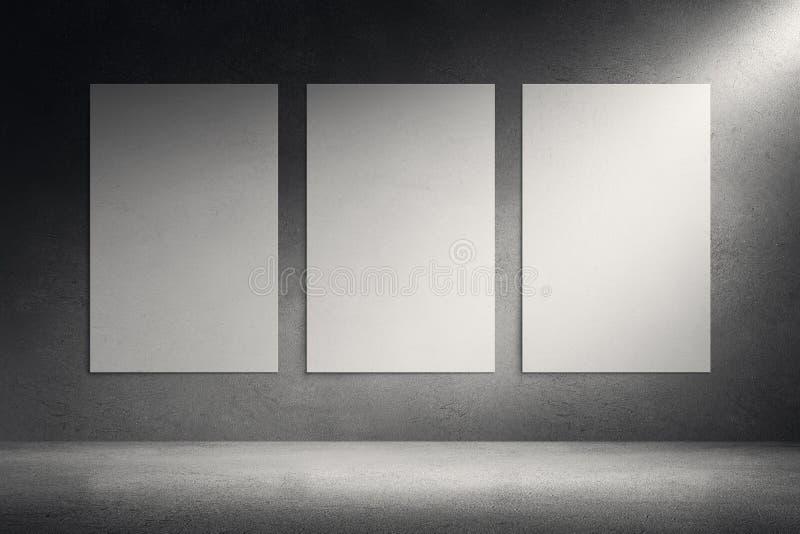 Kanfasramar på bakgrund för cementgrungevägg vektor illustrationer