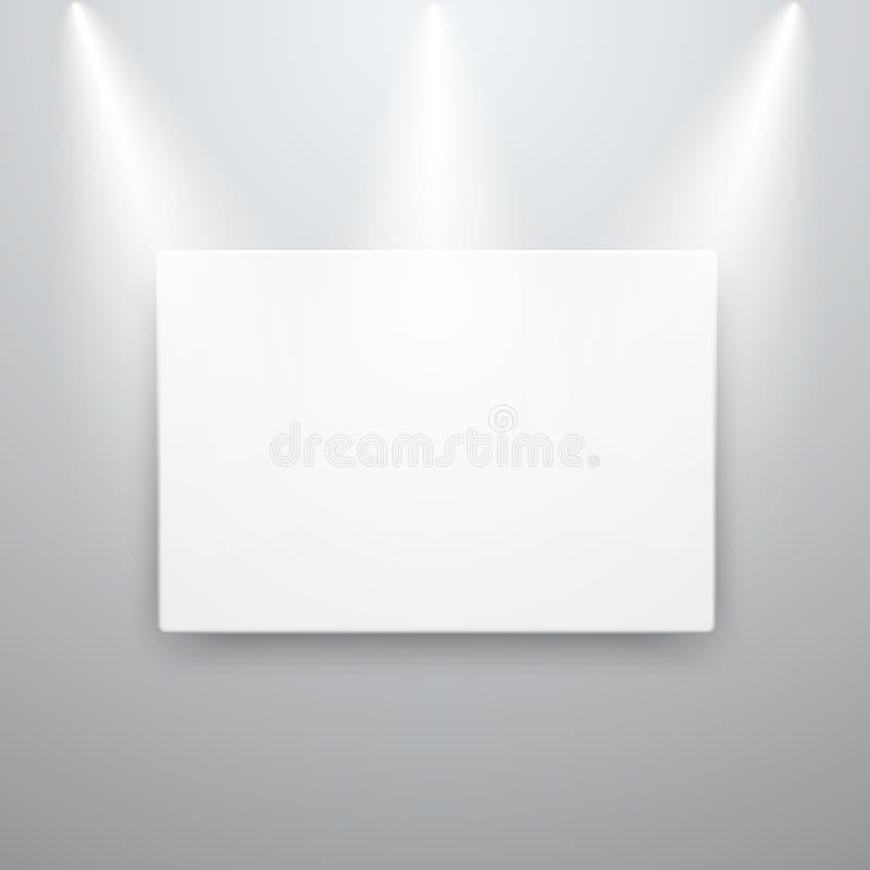 Kanfasskärmmodell på den tomma väggen med fläckljus också vektor för coreldrawillustration royaltyfri illustrationer